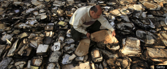Volunteers trying to salvage what's left of some 192,000 books, journals and writings