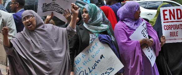 Somali Muslim parasites (imported by Obama) protest
