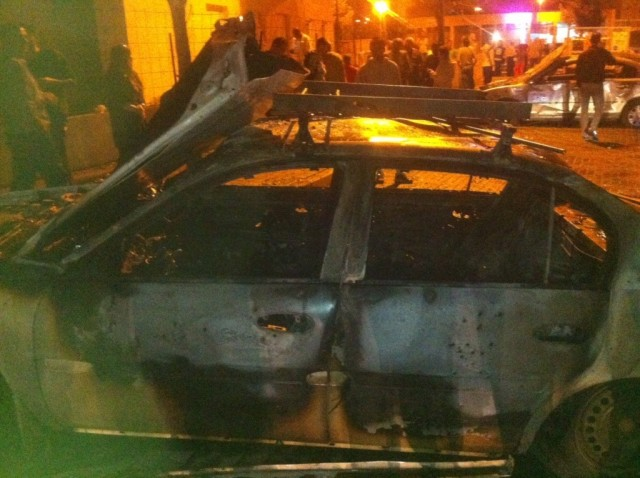 Burnt car in Beersheaa, Israel. November 15.