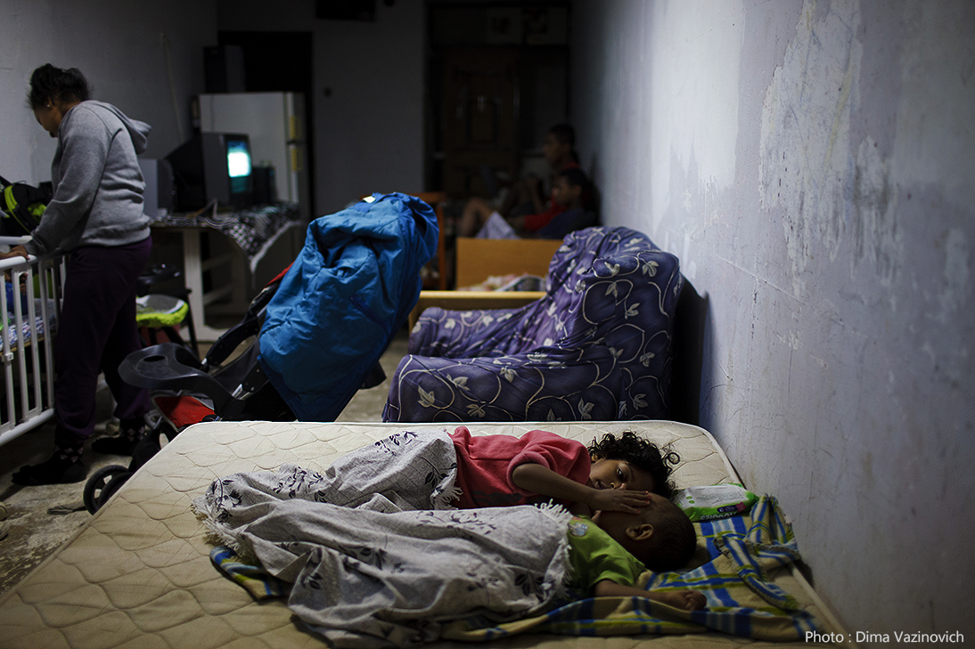 Children sleeping in a bomb shelter in Ashkelon after 14 rockets hit the city that night. November 18.