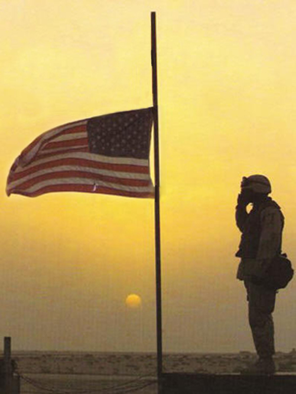 Memorial_Day_Art_American_Soldier_Salutes_Half_Mast_US_Flag-01