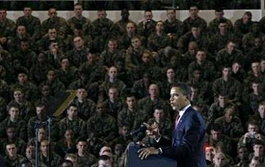MUSLIM-IN-CHIEF SPEAKING TO GROUP OF LESS-THAN-IMPRESSED MARINES