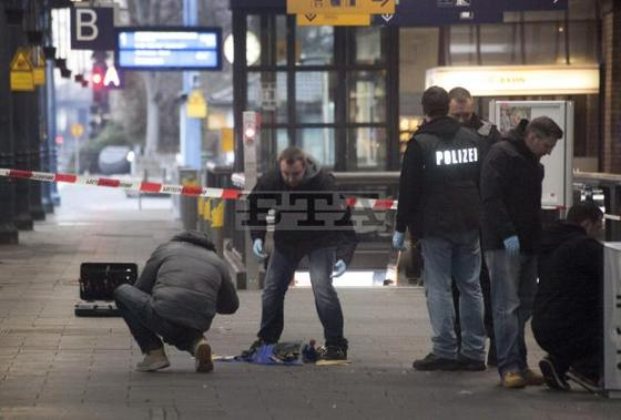 Bonn Police inspect a bag that is thought to have contained explosive materials.