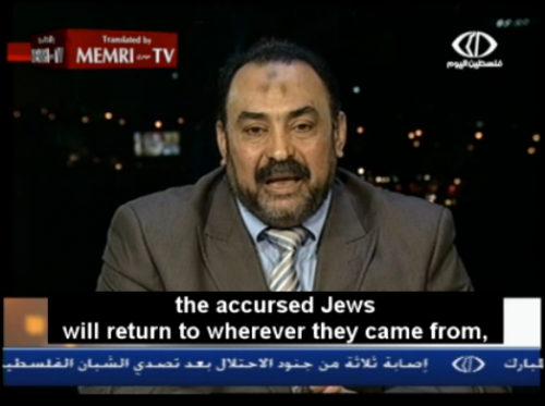 "Ali Abd Al-Fattah, a Muslim Brotherhood leader in Egypt says, ""The Accursed Jews Will Return To Wherever They Came From And The Arab Land Will Be Completely Cleansed of Zionist Filth"""