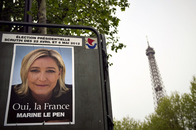 The National Front's Marine Le Pen advocates taking France out of the euro, tightening borders against Muslim immigration and pulling away from European treaties.