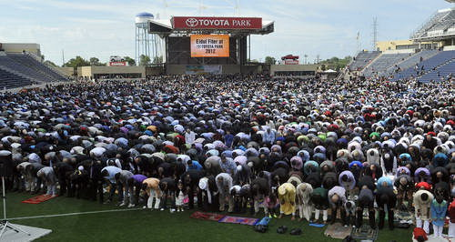 Muslims lifting their asses to Allah in Toyota Park