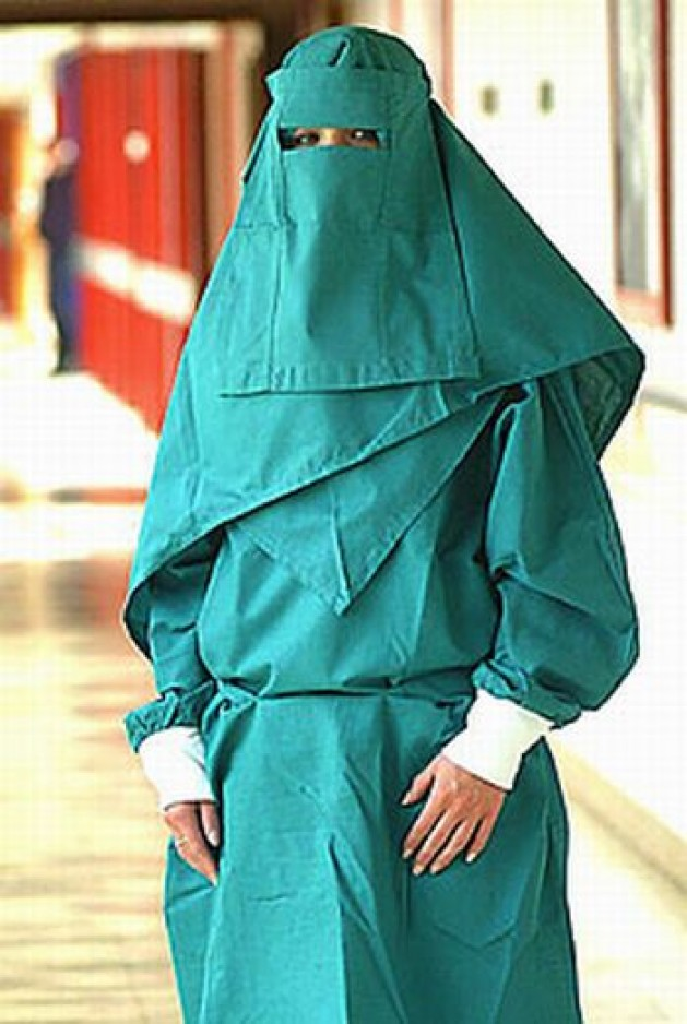Muslim women can work as nurses in the UK where they provide specially-designed burqa uniforms (Scary for patients, however)