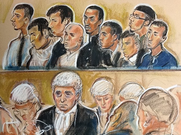 Defendants:  Kamar Jamil, Akhtar Dogar, Anjum Dogar, Assad Hussain, Mohammed Karrar, Bassam Karrar, Mohammed Hussain, Zeeshan Ahmed and Bilal Ahmed. Shocked jury can't even look at them.