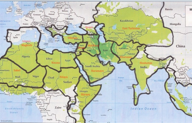 The graphic below shows the governance areas for the caliphate that al Qaeda has claimed it is in the process of creating through the jihads of its branches. The exact boundaries of these areas are open to discussion, but the names and general territories are as described by al Qaeda.
