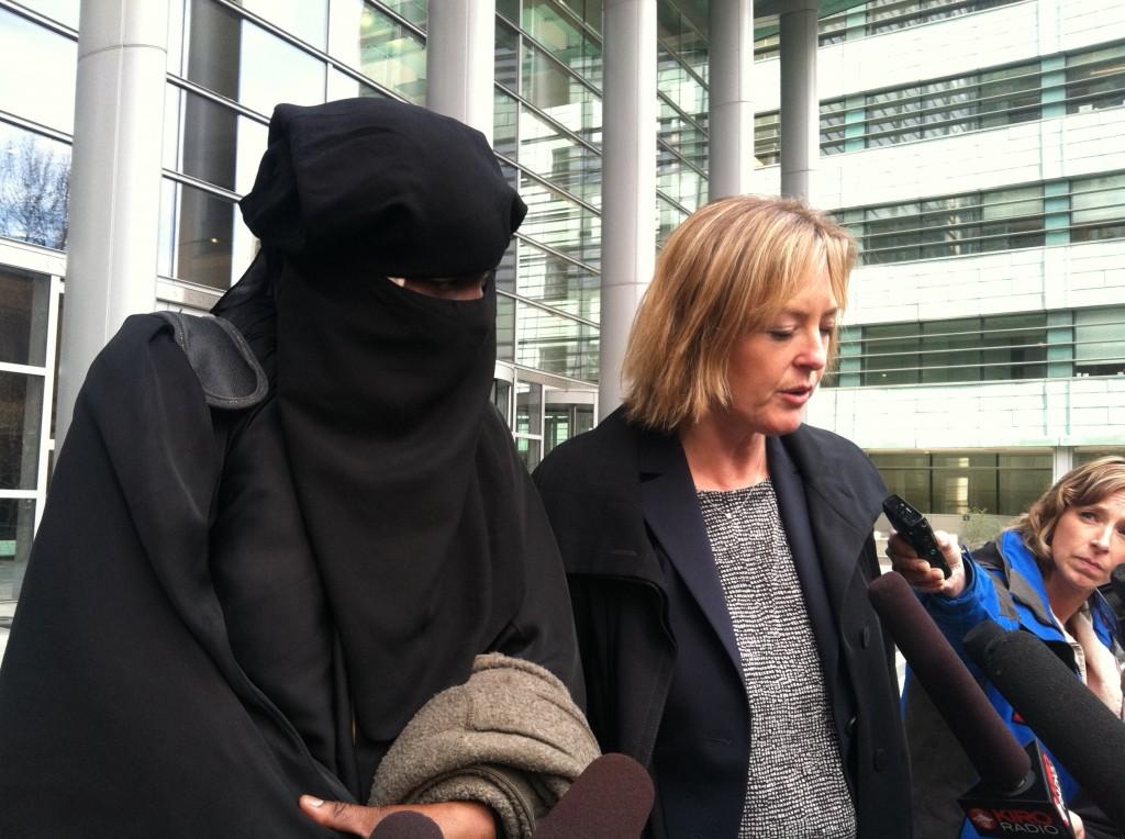 Abu Khalid Abdul-Latif's wife, Binta Moussa-Davis, and his attorney, Jennifer Wellman