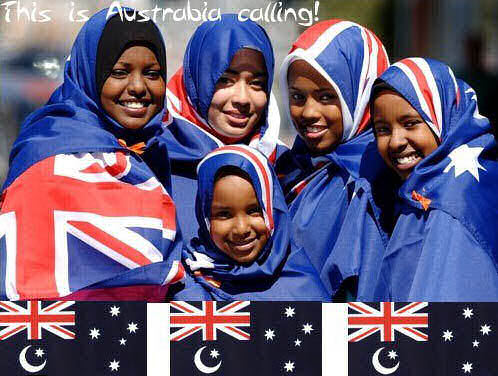Muslims desecrating the Australian flag