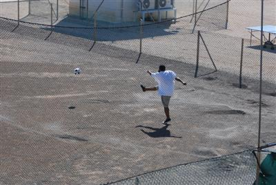 Soccer fields and a variety of sports equipment for the terrorists' recreation hours