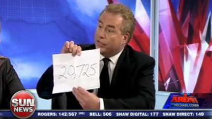 Canadian Sun News commentator Davied Menzies hold up the latest tally of deadly Islamic terror attacks since 9/11