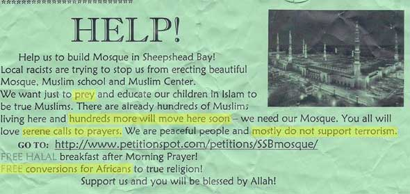 Flyer sent to neighborhood residents by Muslims