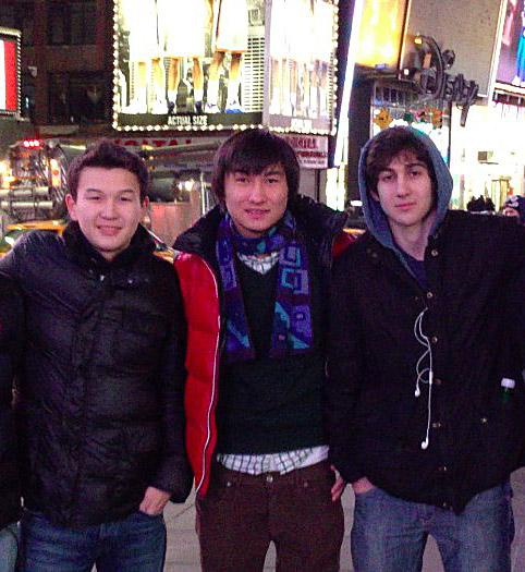 Tazhayakov (left), the 19-year-old Kadyrbayev (middle), and Marathon bomber Tsarnaev together in Times Square: