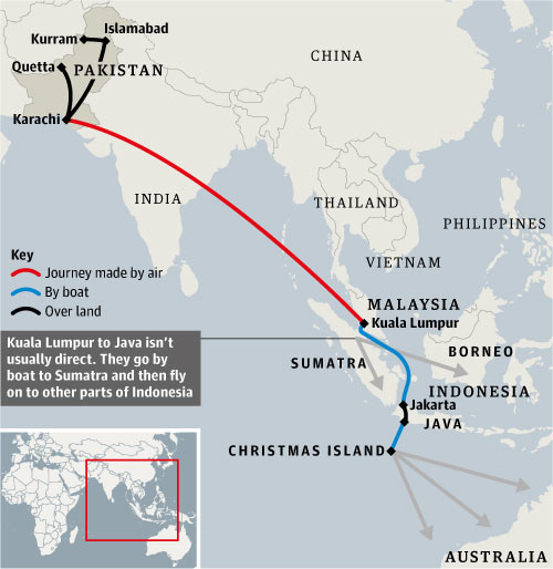 The most popular route to Australia for Muslim illegal aliens