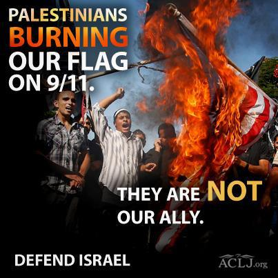 Palestinians burn US flag