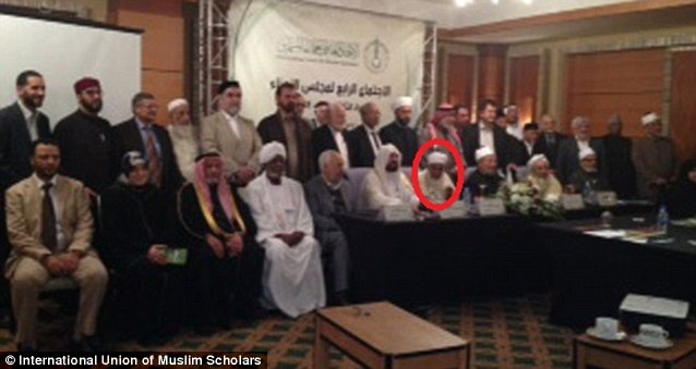 Sheikh Abdullah Bin Bayyah, circled in red, is shown at the International Union of Muslim Scholars (IUMS) board meeting in Doha, Qatar in December. The trustees issued a concluding statement at the meeting calling for Israel's destruction and the return of Palestinians exiled after the Israeli War of Independence in 1948.