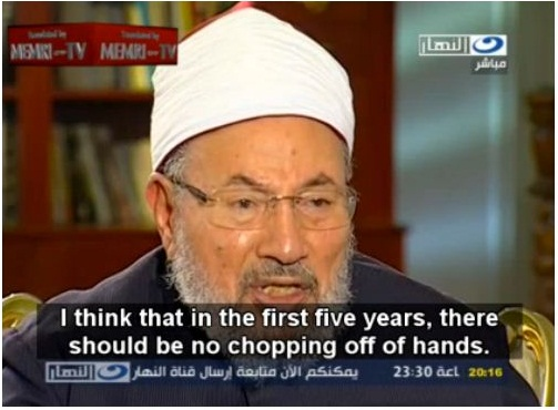 Here, he is talking about Egypt's new sharia government under Morsi