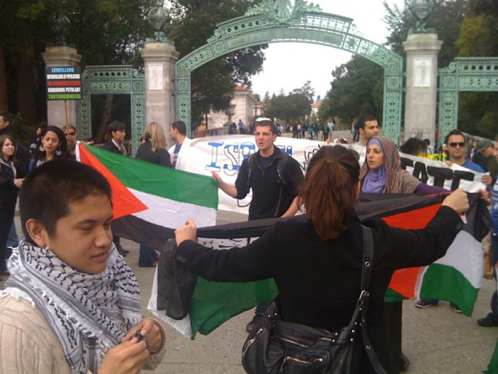 Pro-Palestinian demonstrators at an Apartheid Week event at the University of California, Berkeley, in February 2012
