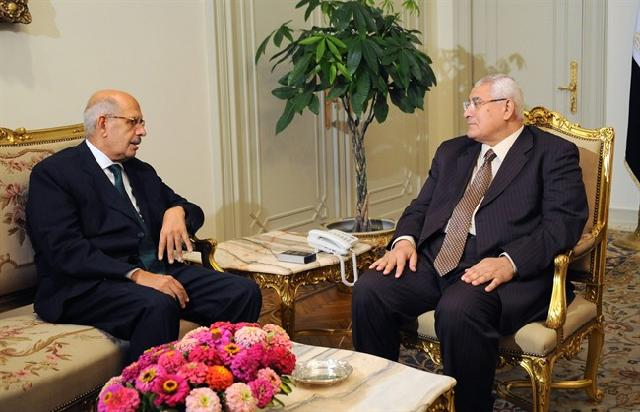ElBaradei with actiing president Adly Mansour