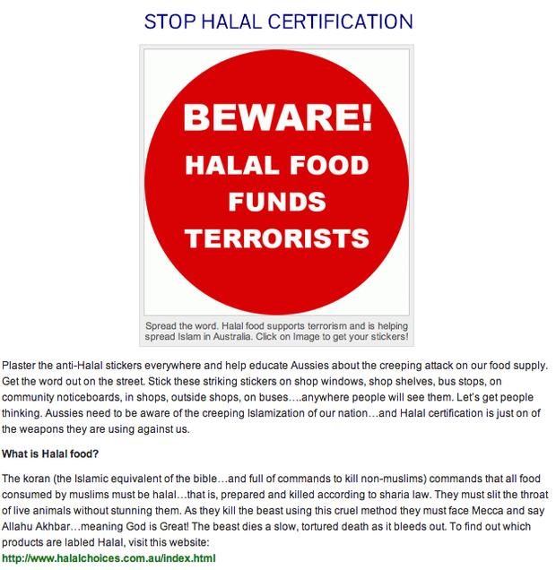 barenakedislam.comOUTSTANDING! Stickers that say, 'Beware! Halal Food