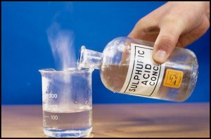 Sulphuric acid added to water