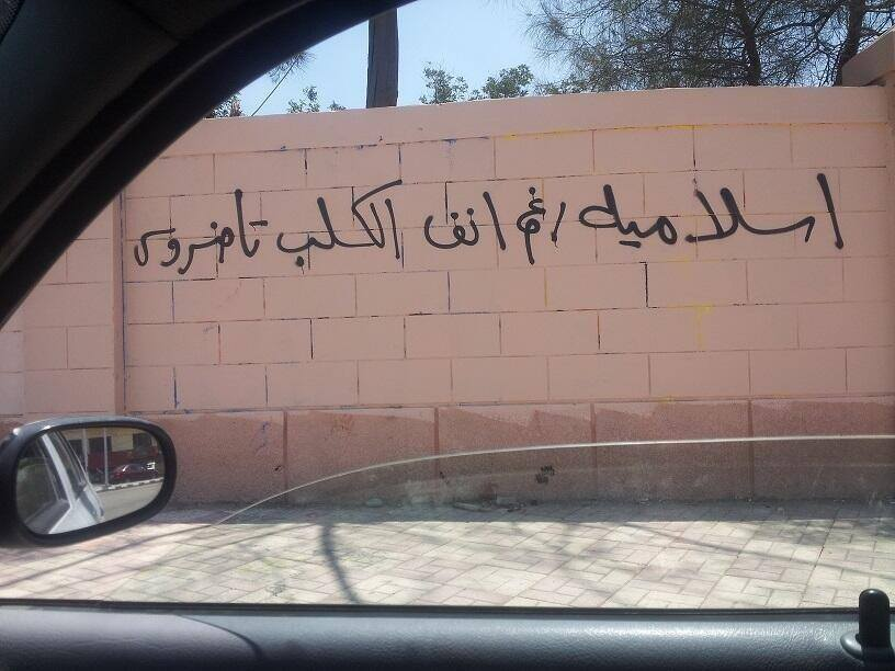 """""""Islamic, despite Tawadros the Dog"""" (reference to Coptic pope), Asyut"""