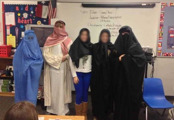 "High school girls in Atlanta forced to dress in burqas to understand what it's like to be dressed in a a giant garbage bag whenever they leave the house. And it's taught that this kind of ""modesty"" is a good thing"