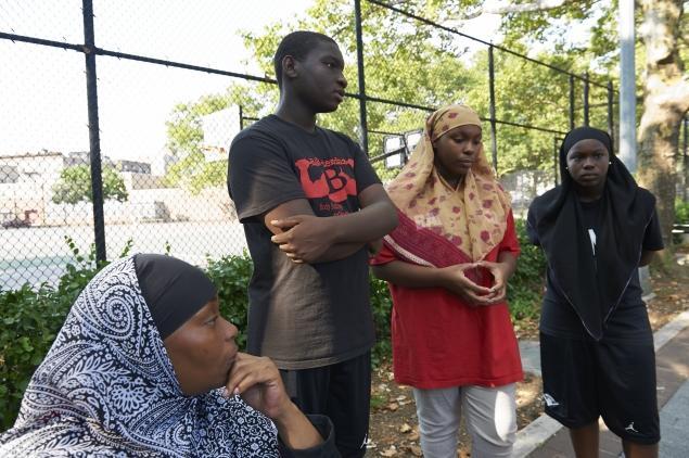 Lajuana Wilson (left) and her children Shytike Wilson, 15, Khalia Wilson, 14, and Lamis Chapman, 12,