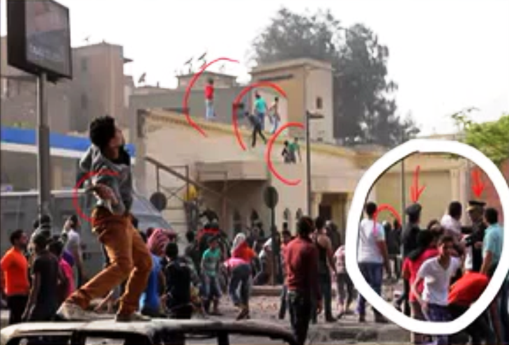 """Muslim""""youth"""" climb to the roof of a building adjacent to St. Mark Cathedral to attack it. To the left, a man winds to hurl a projectile at it. And in the white circle to the right, high-ranking Egyptian officials and security stand by watching (easily recognizable by their hats and helmets)."""