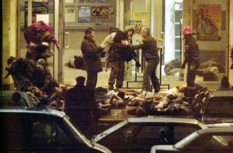 Muslim terror attack on Moscow theater in 2002 killing 129 hostages