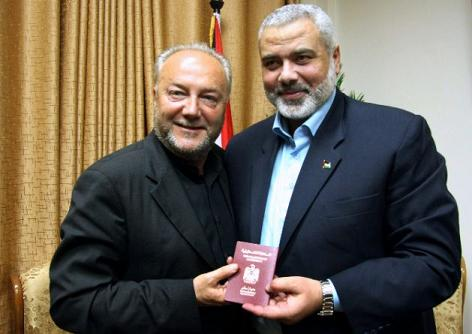 George Galloway gets and honorary passport to Gaza from Hamas leader Haniyeh