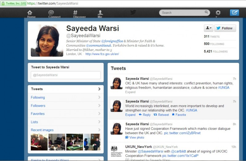 Warsi, as you can see, is a big fan of the pro-sharia Organization of Islamic Cooperation