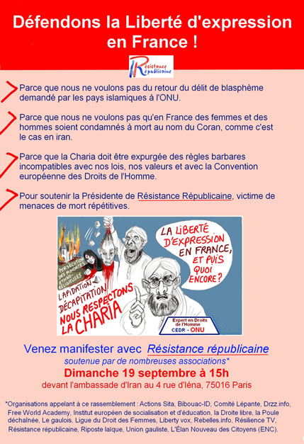 Christine's group fights for free speech and against Islamic blasphemy laws which threaten to destroy freedom of expression in France