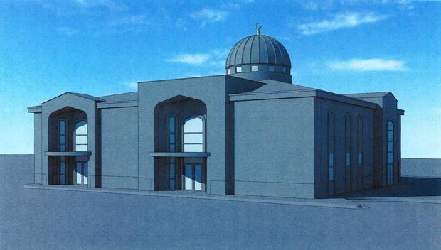 A architect's drawing of the Islamic Society of Edmond's proposed fellowship activity building to be built next to the mosque. The city council denied a specific use permit