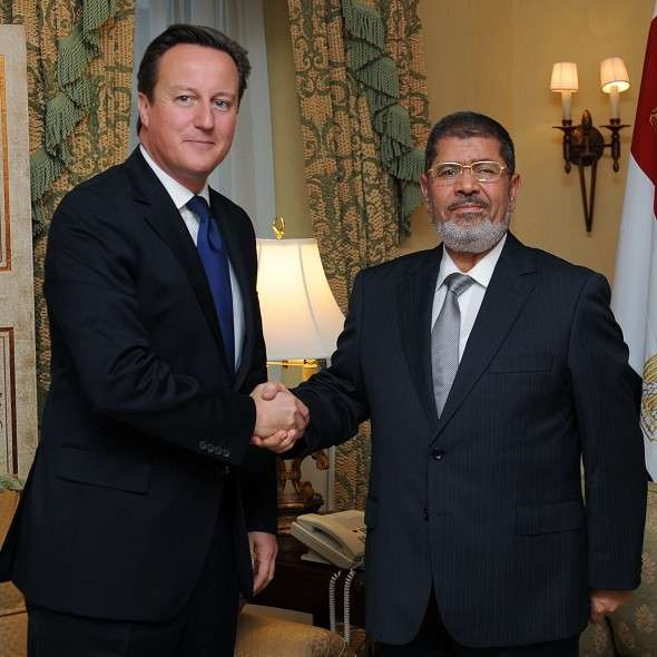 British PM David Cameron welcomed the Muslim Brotherhood President of Egypt, Mohamed Morsi