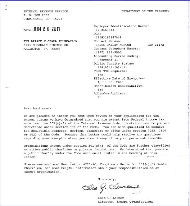 barack-h-obama-foundation-irs-tax-exempt-letter-signed-by-lois-lerner-screenshot