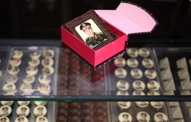 General Sisi is so popular in Egypt now, they are making selling everything from cookies to pillows in his image