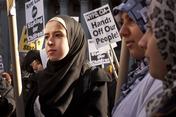 Muslim women protest in New York