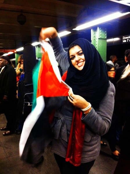 And Amani was all in, hoisting her Hamas flag