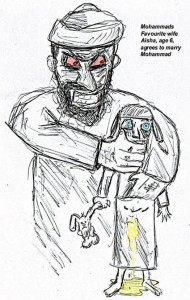 Prophet Muhammad & Aisha his child bride marriage cartoon