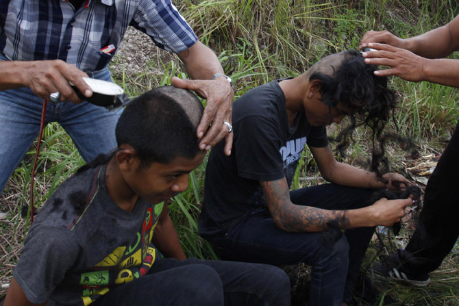 Since being arrested at a punk rock concert in the provincial capital Banda Aceh, 59 male and five female punk rock fans have been transported by Aceh State Police to a 10-day  spiritual cleansing/re-education camp.