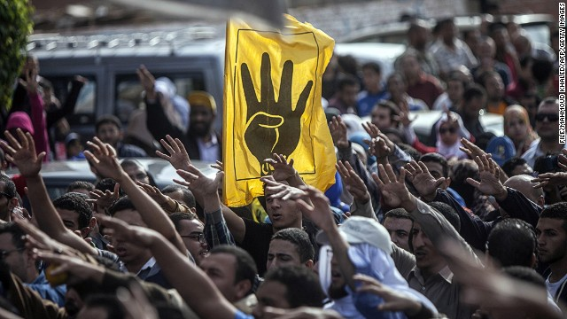 The yellow 4-fingered salute for the Muslim Brotherhood