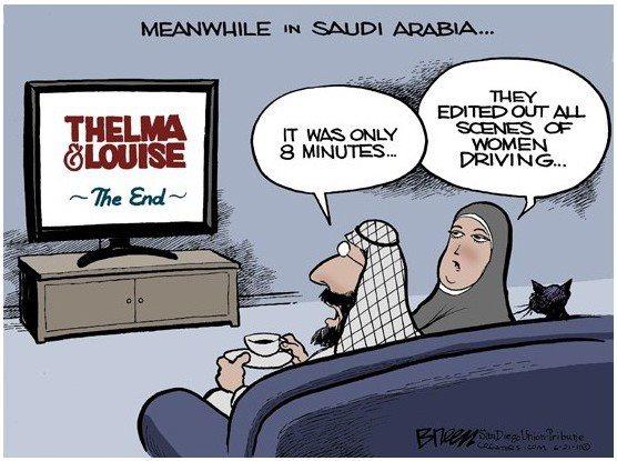 Saudi-Arabia-Women-Driving-Thelma-and-Louise-Cartoon