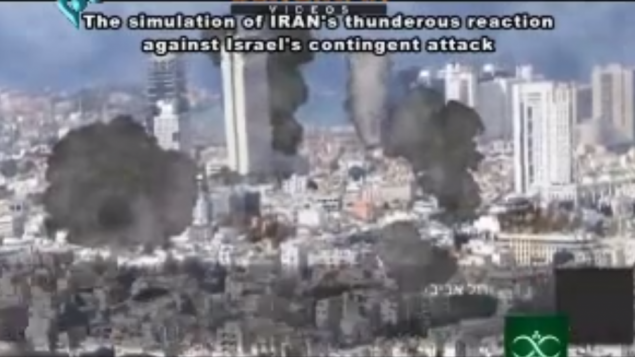 Computerized shots of Tel Aviv being bombed by Iran