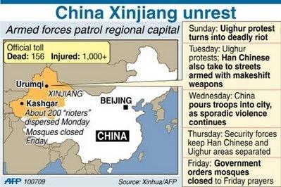 Uighur unrest graphic AFP