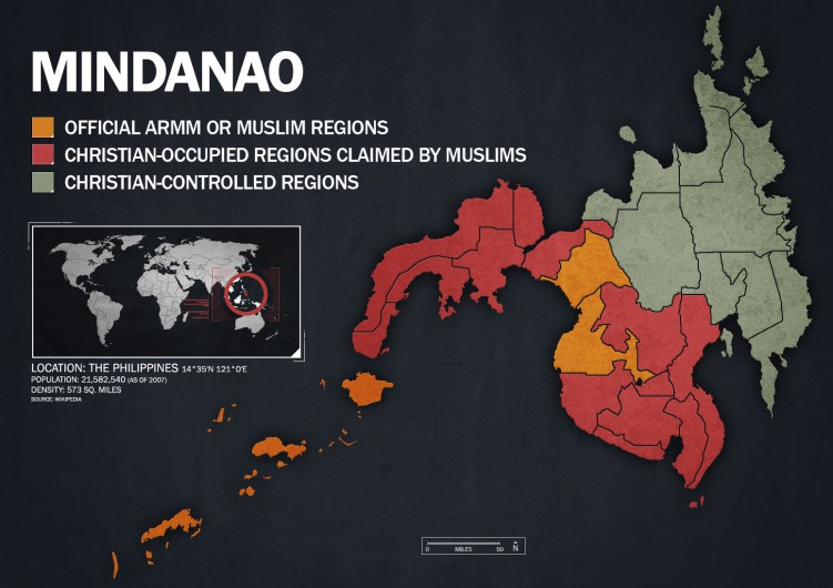 The Autonomous Region in Muslim Mindanao (ARMM) is the region the Philippine government has turned over to the Muslim minority in southern Philippines. These provinces follow Shariah law. However, the Muslims lay ancestral domain claims to 14 provinces on the island of Mindanao.  The map shows the areas controlled by Christians in green and the official ARMM provinces in orange. You can see from the map, the Philippine Muslims claim a significant amount of territory that is occupied by Christians. These areas are where many terrorist attacks happen.