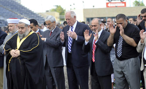 Gov. Pat Quinn, an ostensibly Christian head of a government, directly joining in an Islamic prayer, going through all the motions.