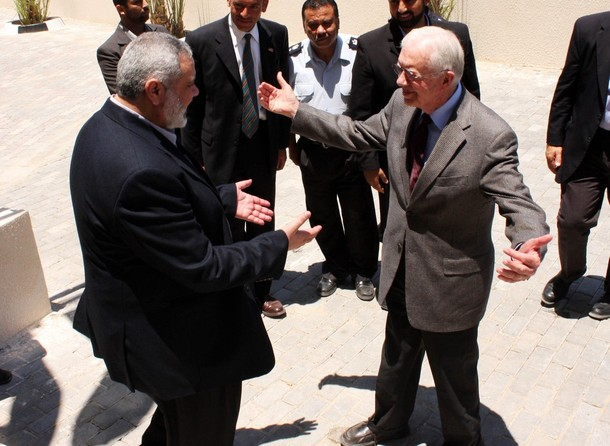 Carter about to embrace  Ismail Haniyeh the leader of Hamas